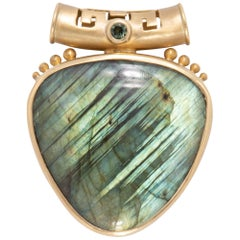 Labradorite Shield Pendant in 18 Karat Gold with Green Sapphire