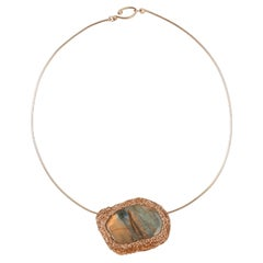 Labradorite Stone Choker 14 kt Rose gold filled Cocktail Necklace by the artist