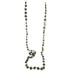 Labradorite Vermeil 925 18k Plated Silver Diamond Clasp Long Gemstone Necklace