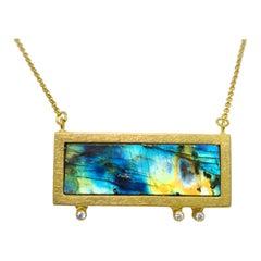 Labradorite Zircon Silver Gold Plade Chain Hand Made Artist Pendant Necklace