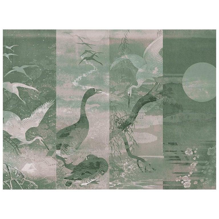 Lac Xi Hu - custom mural wallpaper (grey green) For Sale