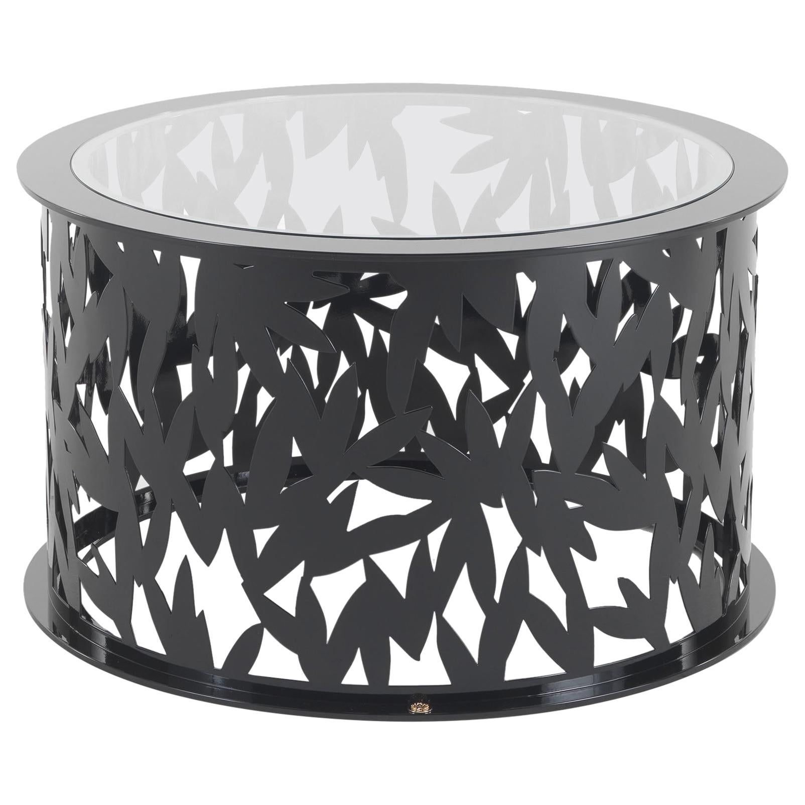 Lace Central Outdoor Table with Glass Top by Roberto Cavalli Home Interiors