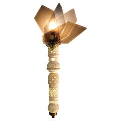 Lace Fan Meerschaum Wall Sconce with Glass Shade and Brass