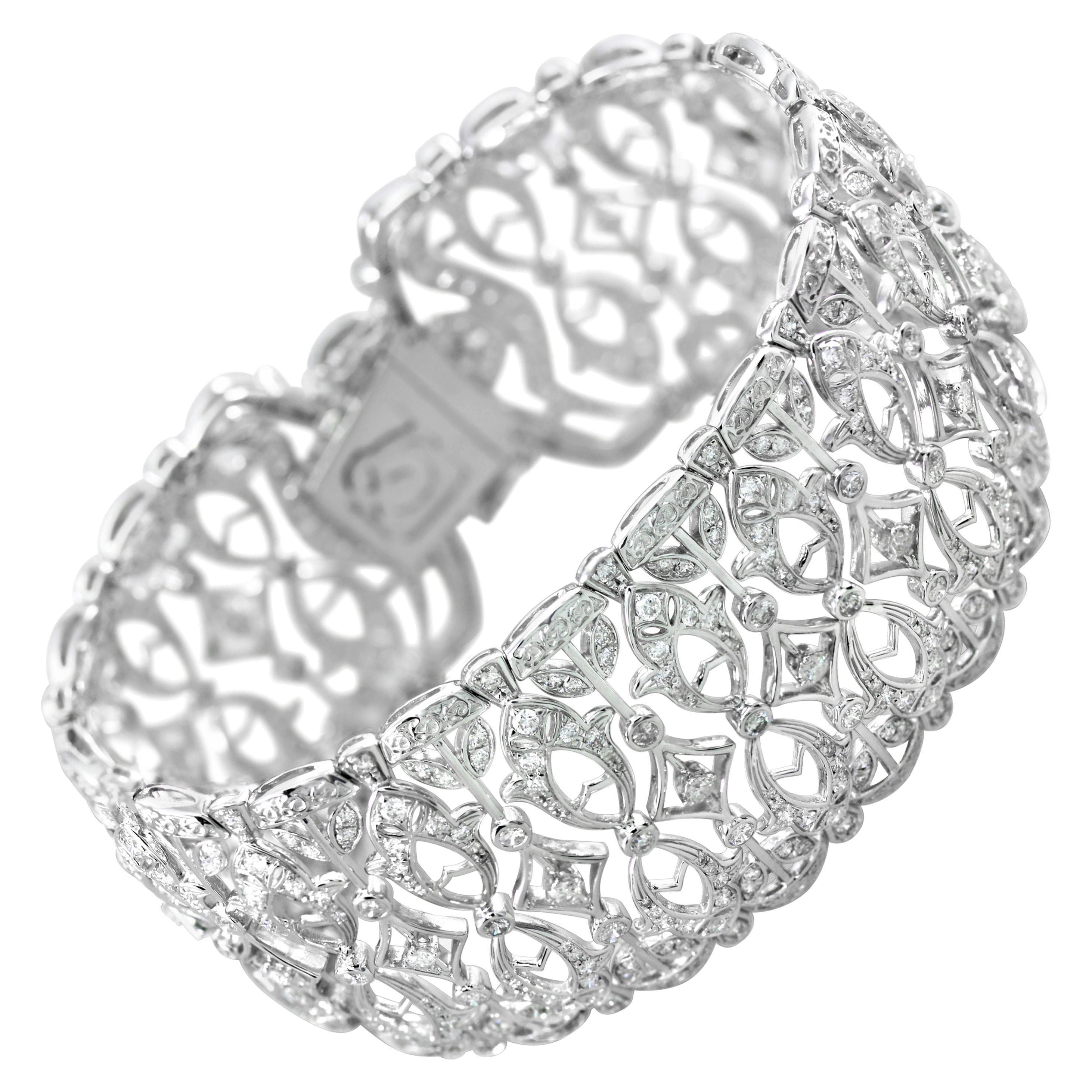 Lace Inspired Diamond Bangle Bracelet in 18 Karat White Gold