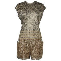 Lace overlay shorts and blouse set Gianni Versace couture