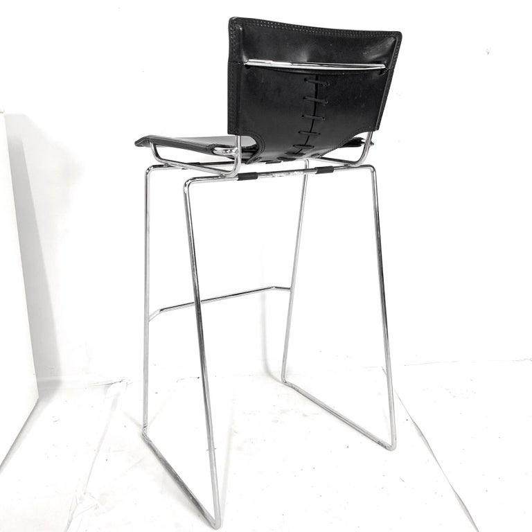 Laced Leather & Chrome Bar Stools by Toyoda Hiroyuki for ICF Group, Italy In Good Condition For Sale In Hudson, NY