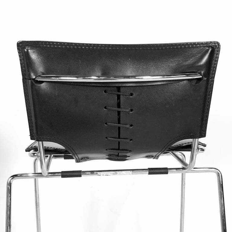 20th Century Laced Leather & Chrome Bar Stools by Toyoda Hiroyuki for ICF Group, Italy For Sale