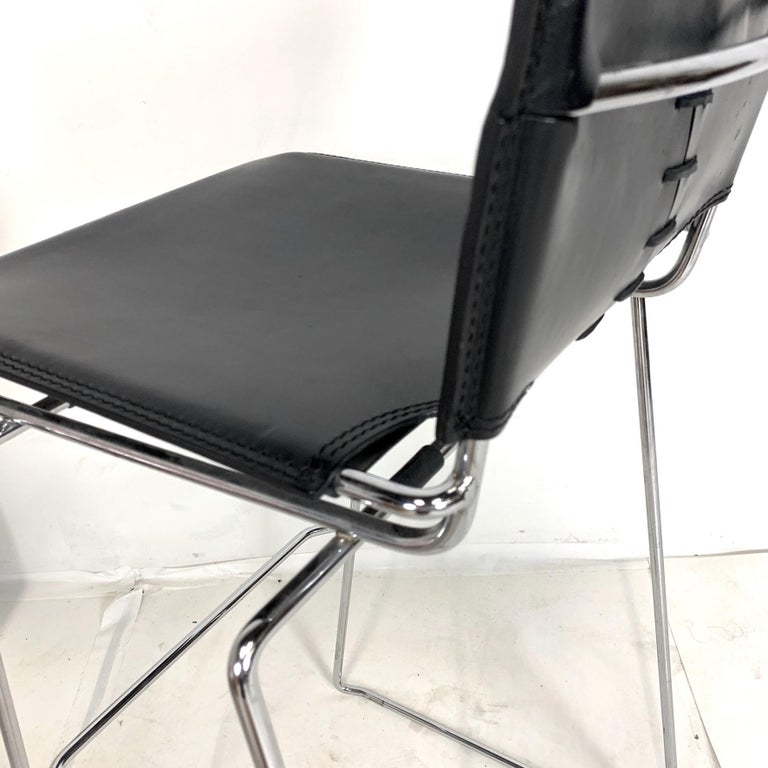 Steel Laced Leather & Chrome Bar Stools by Toyoda Hiroyuki for ICF Group, Italy For Sale