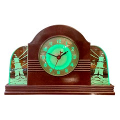 Lackner Neon Glo Art Deco Marbled Brown Catalin Glass Bakelite Clock