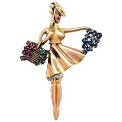 "Lacloche ""Autumn"" Brooch, Diamonds, Rubies, Emeralds, Sapphires"