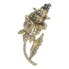 Lacloche Paris 1950s Sapphire Diamond and Gold Flower Brooch