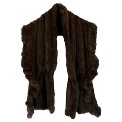 Lacompel Pret Porter Chocolate Brown Mink Fur Shawl