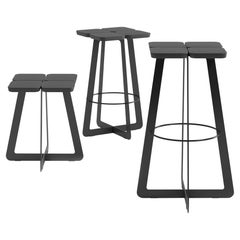 Laconic Black Stool, Collection Stern in Minimalism Style for Modern Residence