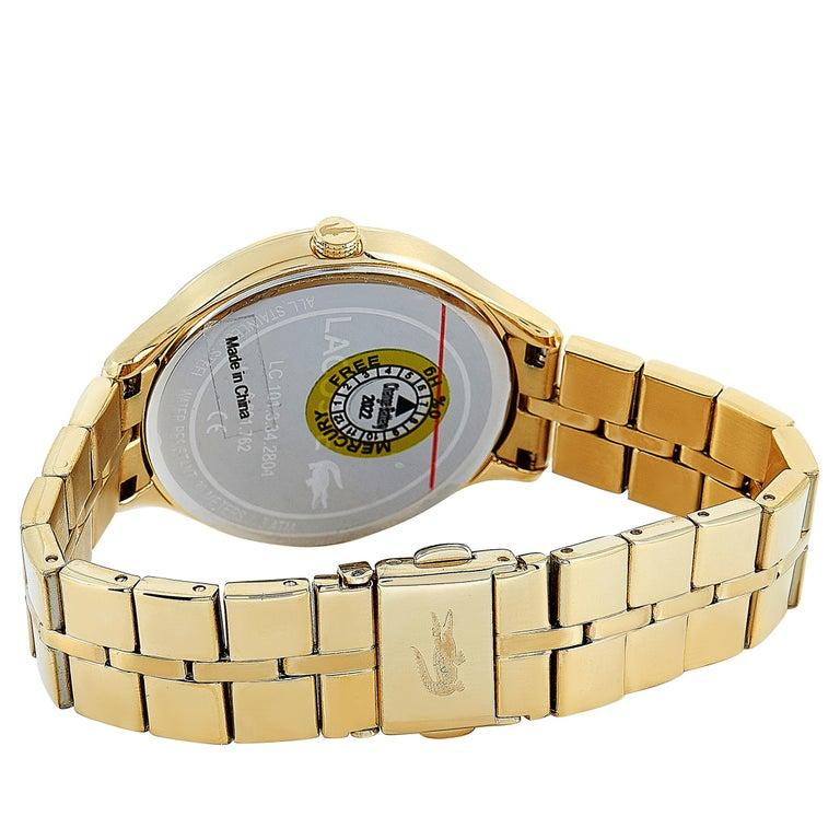 Lacoste Constance Gold-Tone Stainless Steel Watch 2001008 In New Condition For Sale In Southhampton, PA