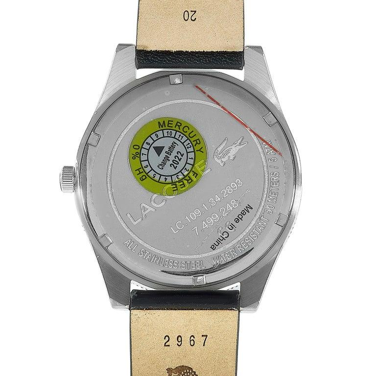 Lacoste Men's Legacy Black Dial Black Leather Watch 2010982 In New Condition For Sale In Southhampton, PA