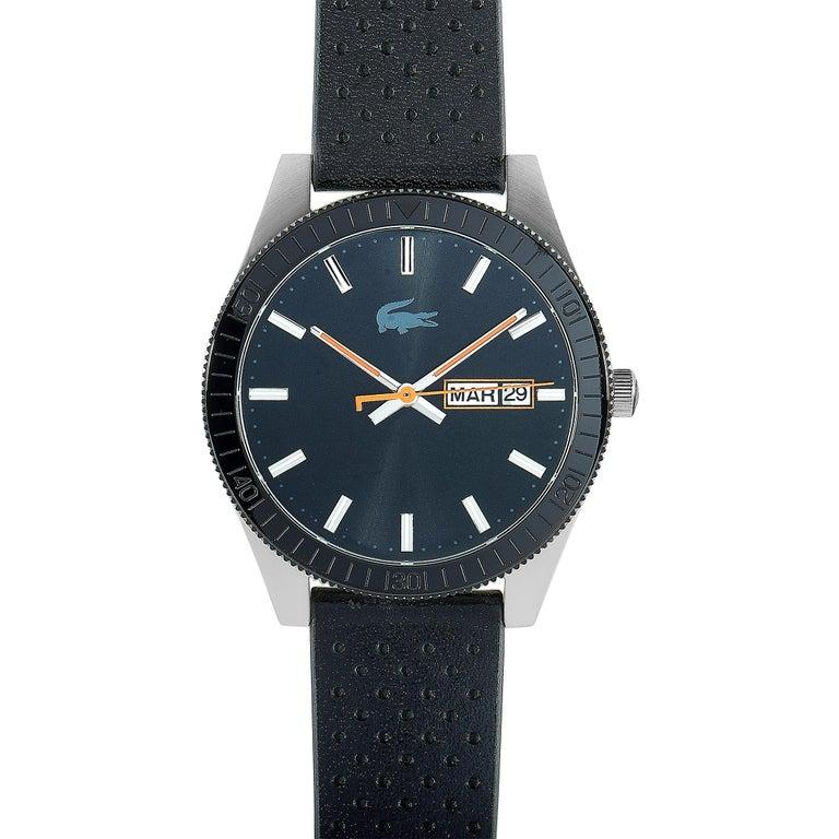 Lacoste Men's Legacy Black Dial Black Leather Watch 2010982 For Sale 1
