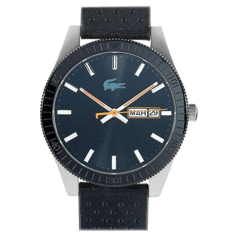 Lacoste Men's Legacy Black Dial Black Leather Watch 2010982 For Sale