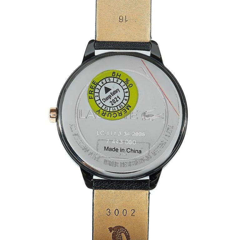 Lacoste Women's Lexi Black Leather Watch 2001069 In New Condition For Sale In Southhampton, PA