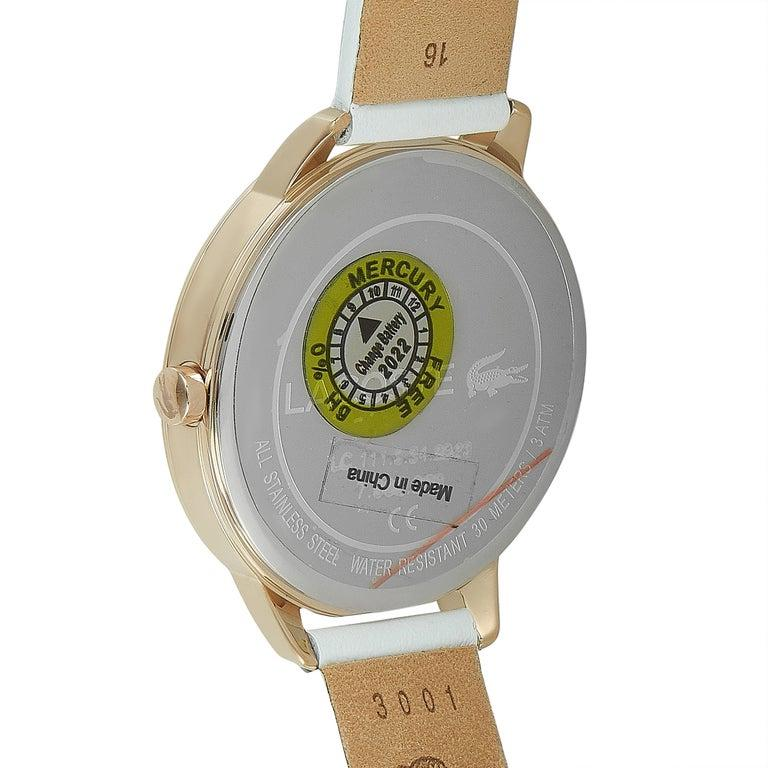 Lacoste Women's Lexi White Leather Watch 2001068 In New Condition For Sale In Southhampton, PA