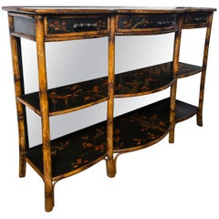 Lacquer and Faux Bamboo 3-Tier Etagere by Theodore Alexander