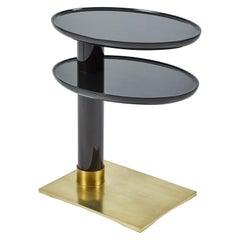 Lacquer and Bronze Petite Side Table, Signed Nicholas Mongiardo
