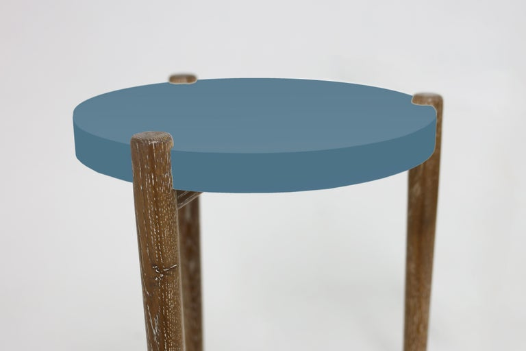American Classical Lacquer and Painted Round Top End Table Shown with Blue Top and Wood Legs For Sale