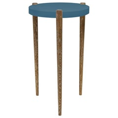 Lacquer and Painted Round Top End Table Shown with Blue Top and Wood Legs