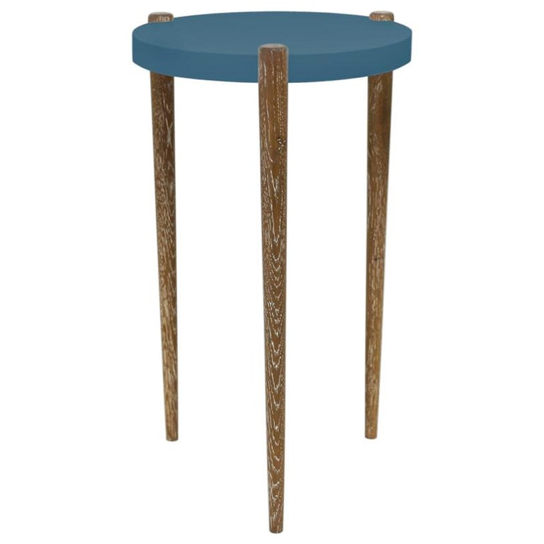 Lacquer and Painted Round Top End Table Shown with Blue Top and Wood Legs For Sale