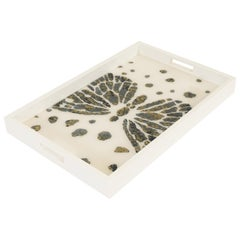 Lacquer and Resin Wood Serving Tray with Handles and Butterfly Design
