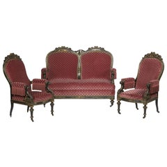 Lacquer and Velvet Set of Seats in the Napoleon III Style, 19th Century