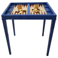 Lacquer Blue High Gloss Backgammon Game Table with Removable Top