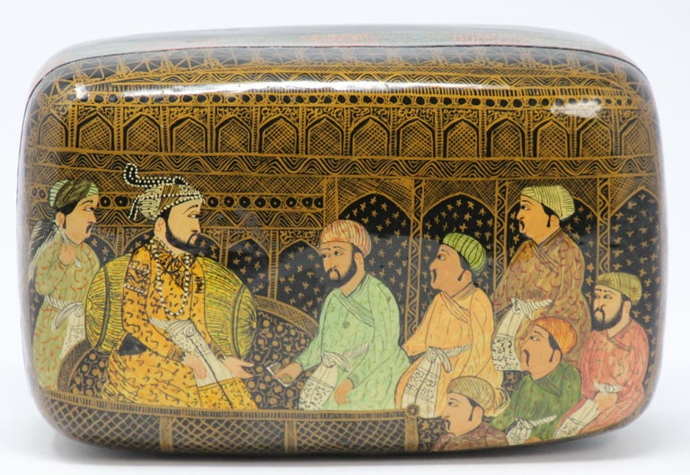 Lacquer Box Hand Painted with Mughals Maharajahs, Kashmir, India For Sale 2