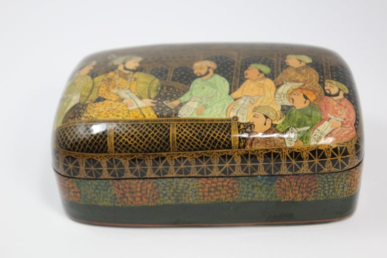 Lacquer Box Hand Painted with Mughals Maharajahs, Kashmir, India For Sale 3