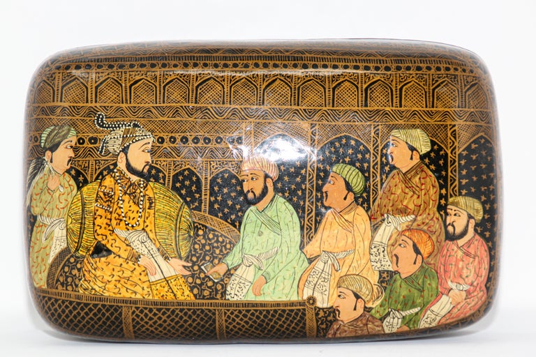 Lacquer Box Hand Painted with Mughals Maharajahs, Kashmir, India For Sale 4