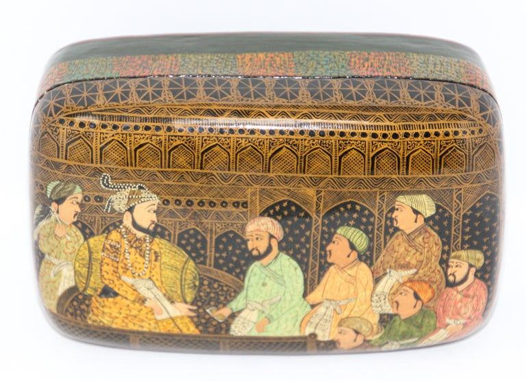 Lacquer Box Hand Painted with Mughals Maharajahs, Kashmir, India For Sale 5