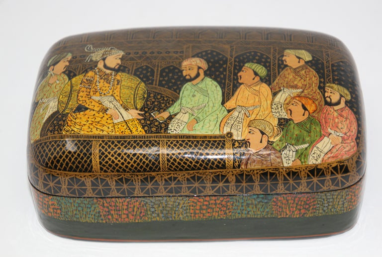 Lacquer Box Hand Painted with Mughals Maharajahs, Kashmir, India For Sale 6