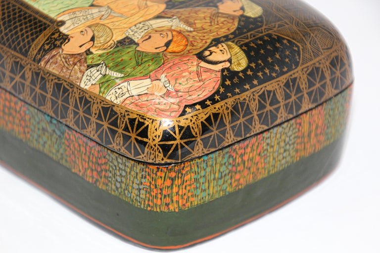Lacquer Box Hand Painted with Mughals Maharajahs, Kashmir, India For Sale 12