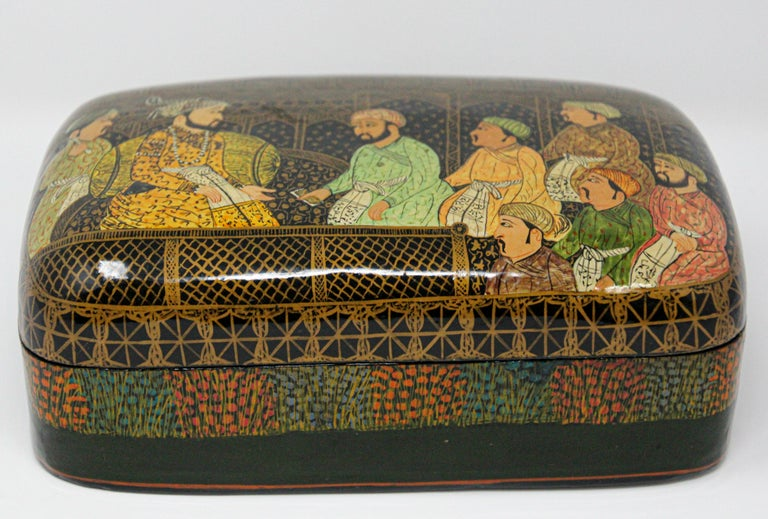 Indian Lacquer Box Hand Painted with Mughals Maharajahs, Kashmir, India For Sale