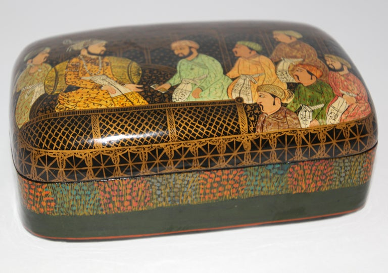 Lacquer Box Hand Painted with Mughals Maharajahs, Kashmir, India For Sale 1
