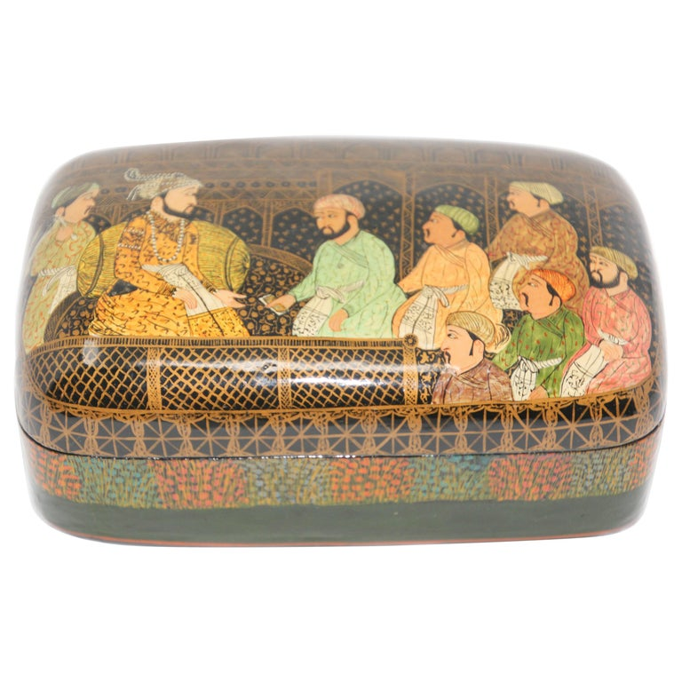 Lacquer Box Hand Painted with Mughals Maharajahs, Kashmir, India For Sale