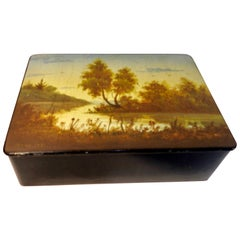 Lacquer Box Russian, 1971 Vintage Hand Painted