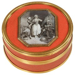 Lacquer Box with Erotic Enamel Medallion, Late 18th Century