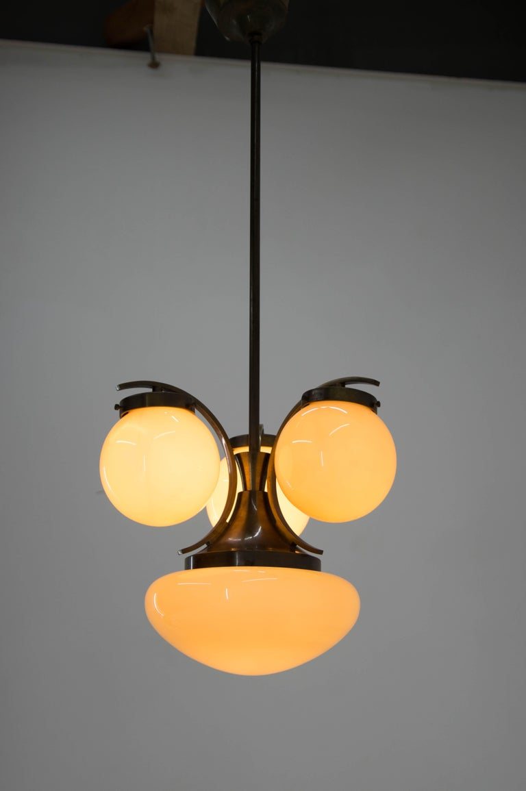Czech Lacquer Brass Art Deco Chandelier, 1930s For Sale