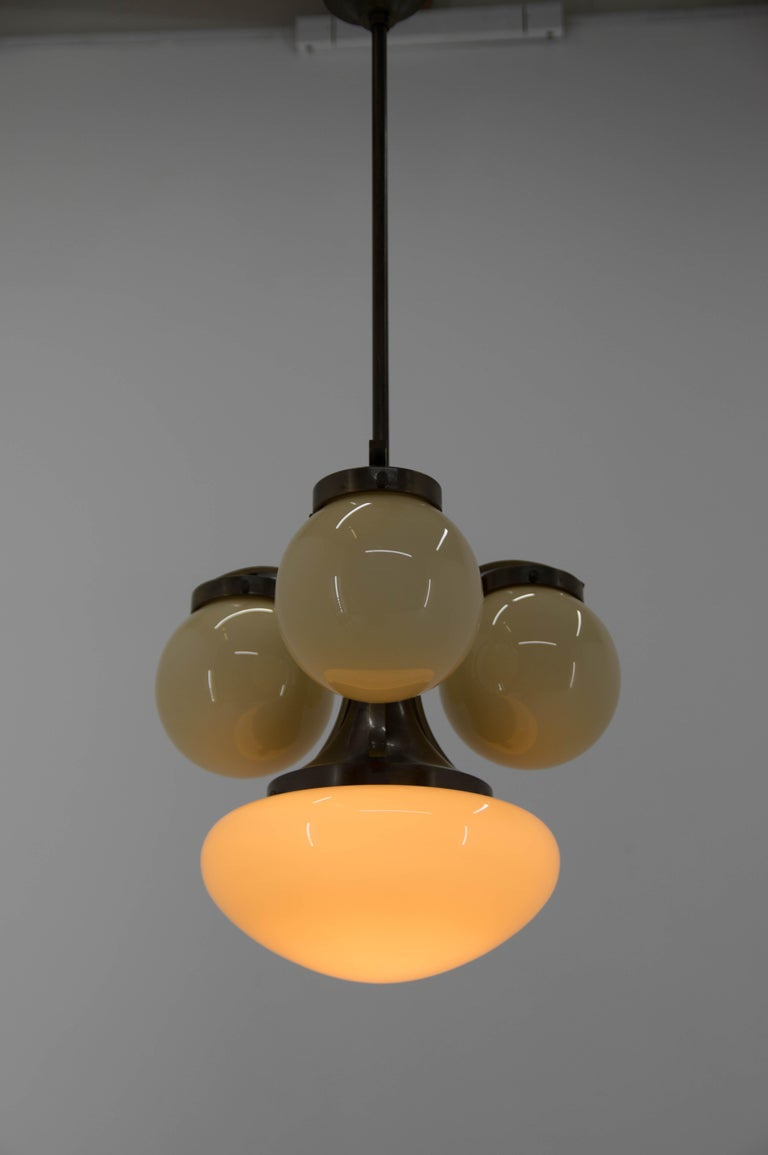 Lacquer Brass Art Deco Chandelier, 1930s For Sale 4
