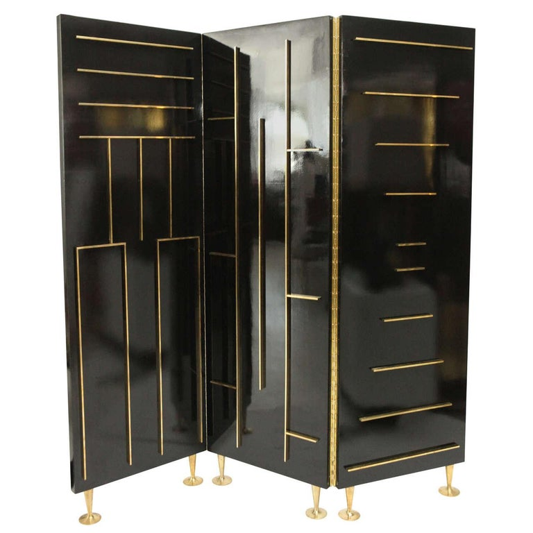 Frank Kyle lacquer and brass divider, 1950s