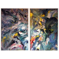 Lacquer on Panel Diptych by California Abstract Expressionist Richard Mann