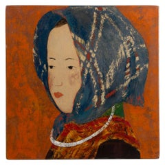 Lacquer Panels Representing Young Girls in Ethnic Costumes, Vietnam