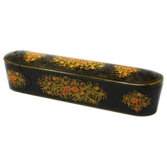 Lacquer Pen Box Hand Painted with Floral Design