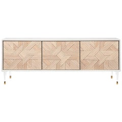 Lacquer Sideboard with Handcut Solid Light Wood Fronts and Lucite Legs