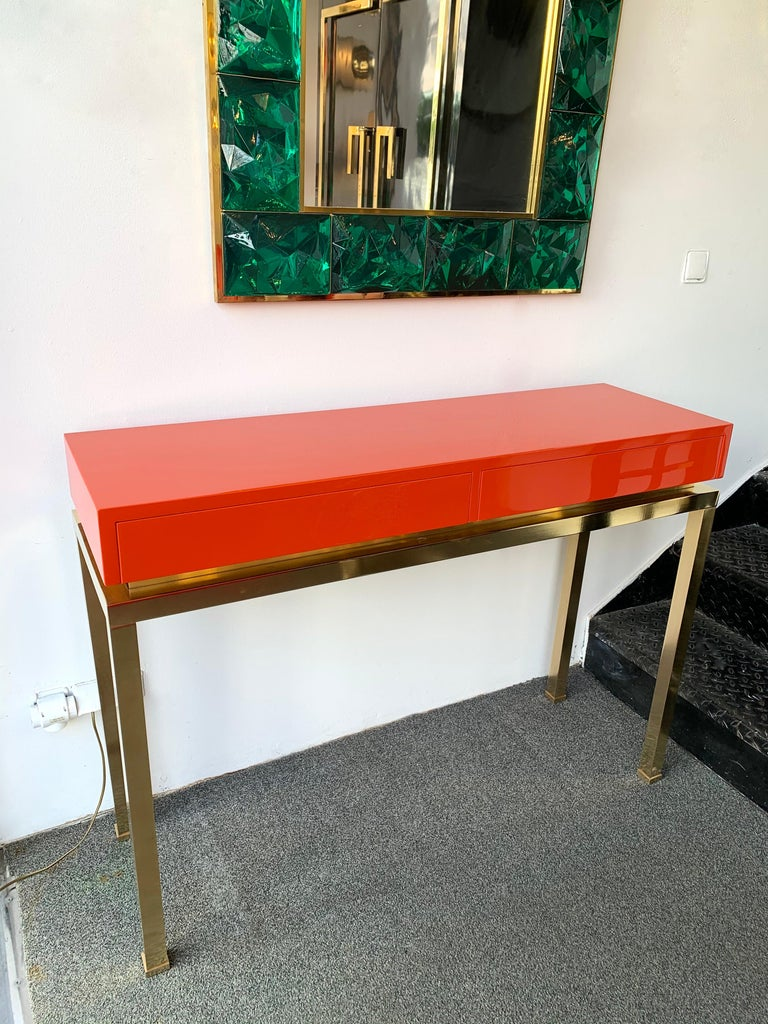 Mid-Century Modern Lacquered and Brass Console by Guy Lefevre, France, 1970s For Sale